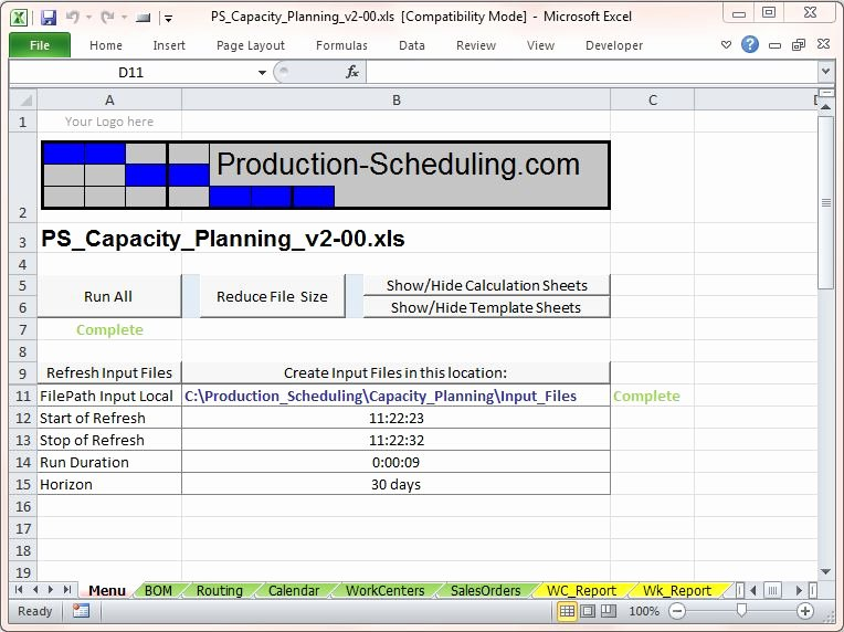 Production Schedule Template Excel Beautiful Capacity Planning tool Download Excel Template for