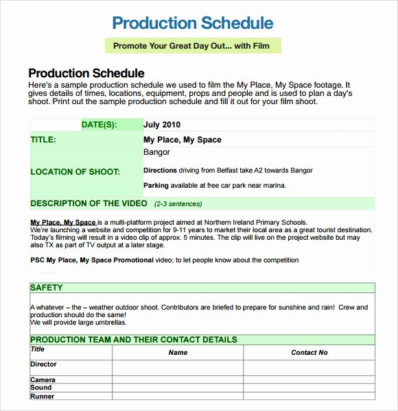 Production Schedule Template Excel Elegant Sample Shooting Schedule 12 Documents In Pdf Word Excel