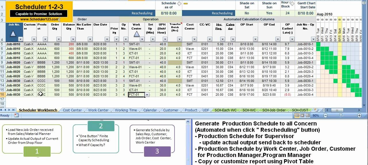Production Schedule Template Excel New Scheduler123 Partc 5 Generate Production Schedule to All