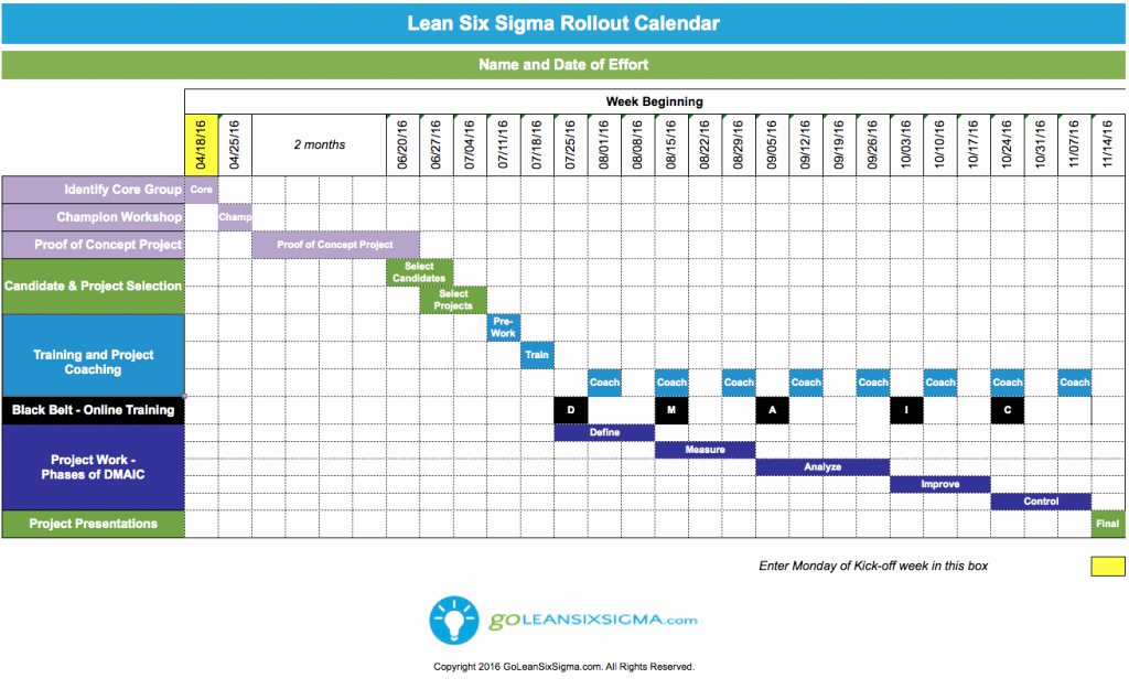 lean six sigma training and certification calendar