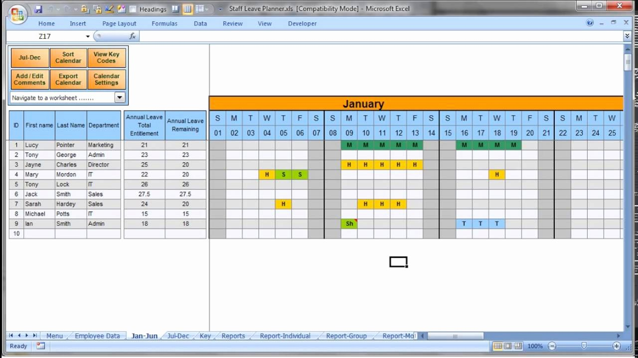 Project Staffing Plan Template Excel Unique Annually Employee Leave Record format In Excel 2016