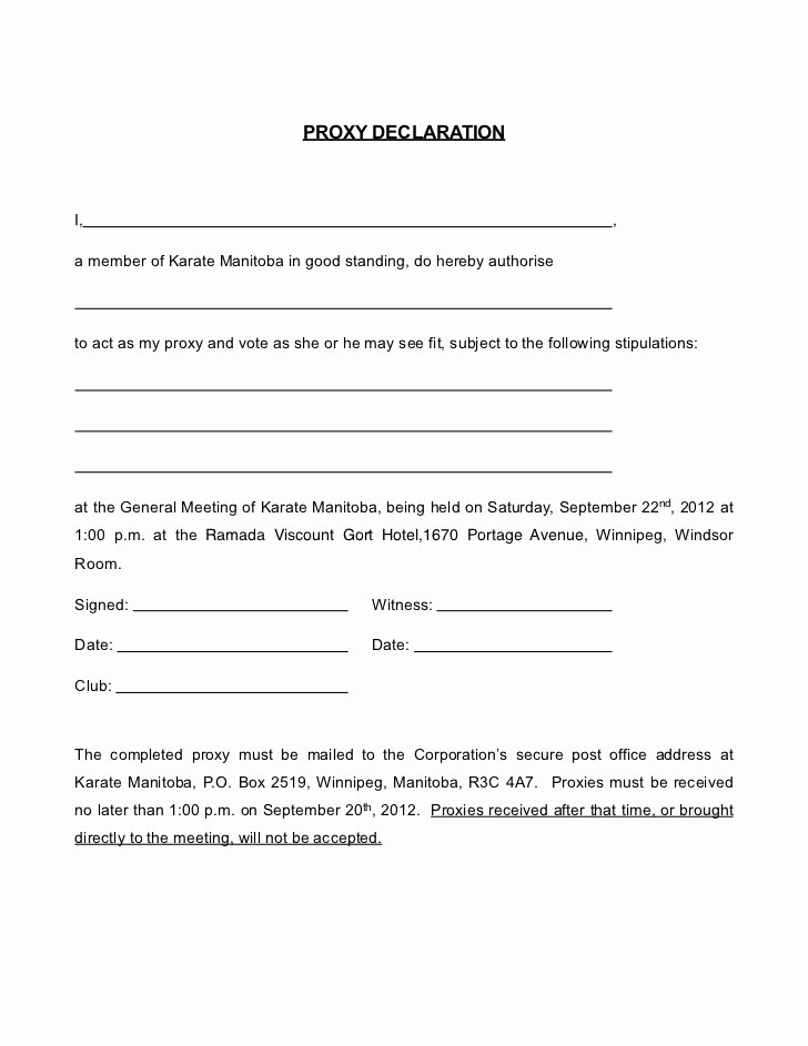 Proxy Voting form Template Awesome Proxy form Karate Manitoba 2012 2013