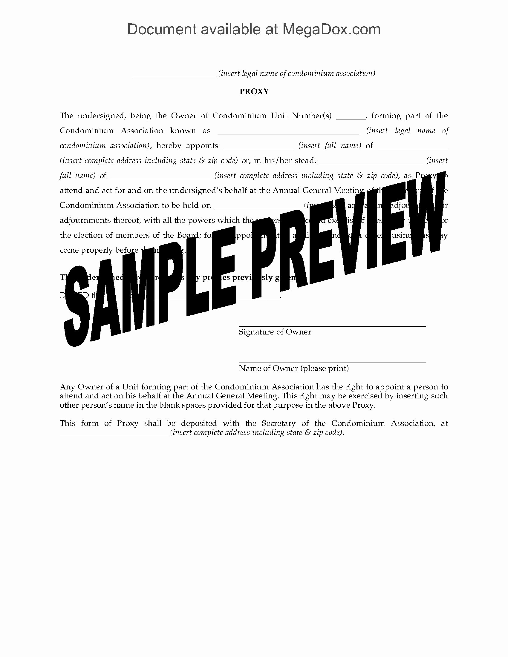 Proxy Voting form Template Best Of Usa Proxy form for Condo association Agm