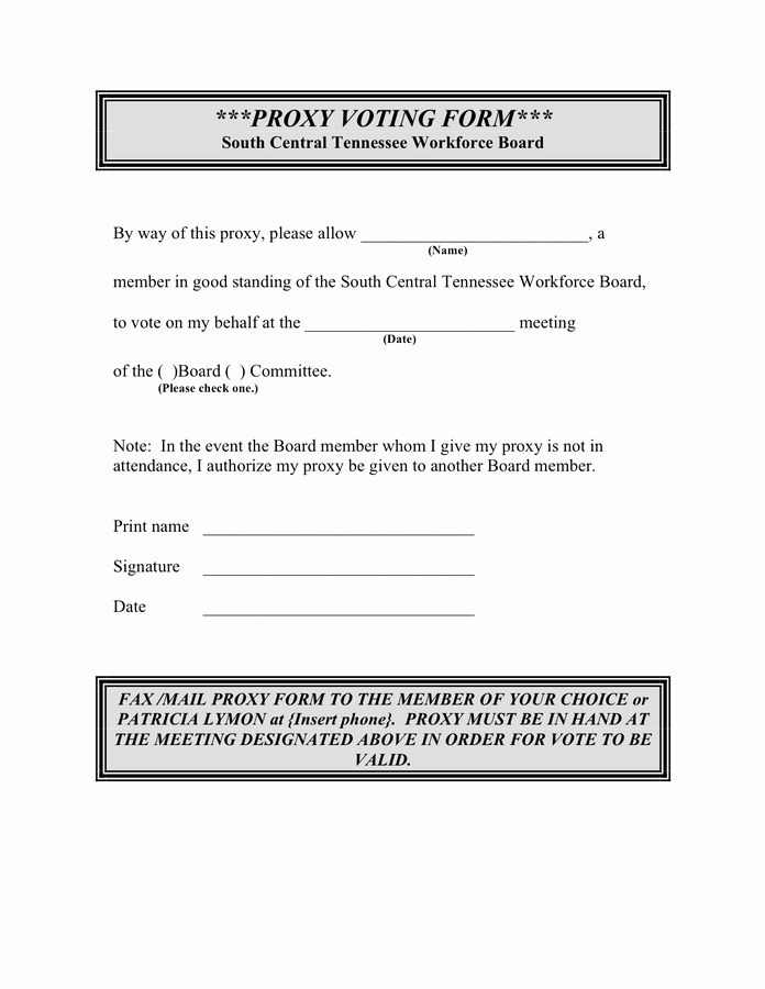 Proxy Voting form Template Elegant Proxy Voting form In Word and Pdf formats