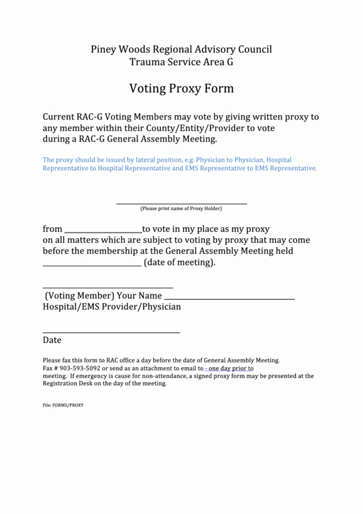 Proxy Voting form Template Inspirational Proxy Voting form Rac G Printable Pdf