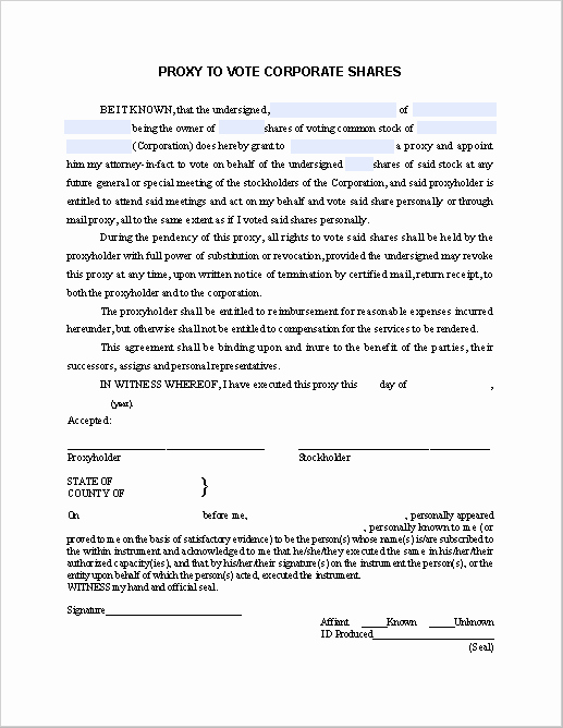 Proxy Voting form Template Luxury Proxy to Vote Corporate S Notice Free Fillable Pdf