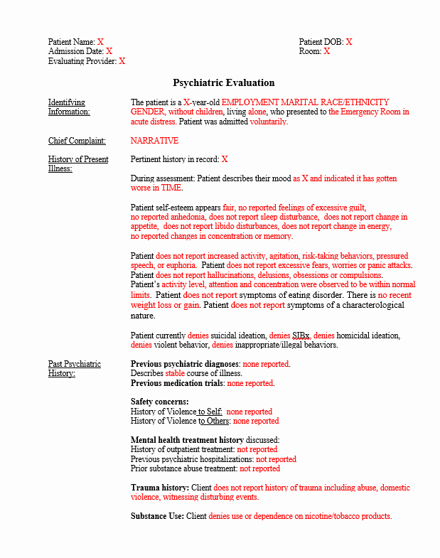 Psychiatric Evaluation form Template Awesome Custom Note Template Psychiatric Evaluation for Inpatient