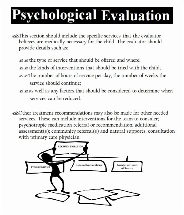 Psychiatric Evaluation form Template Awesome Free 7 Sample Psychological Evaluation Templates In Pdf