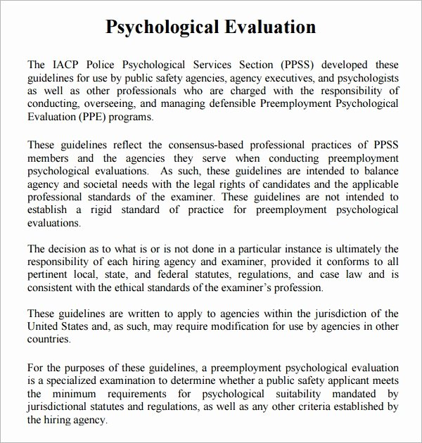 Psychiatric Evaluation form Template Beautiful Free 7 Sample Psychological Evaluation Templates In Pdf