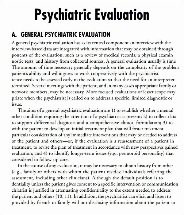 Psychiatric Evaluation form Template Elegant Free 7 Sample Psychological Evaluation Templates In Pdf
