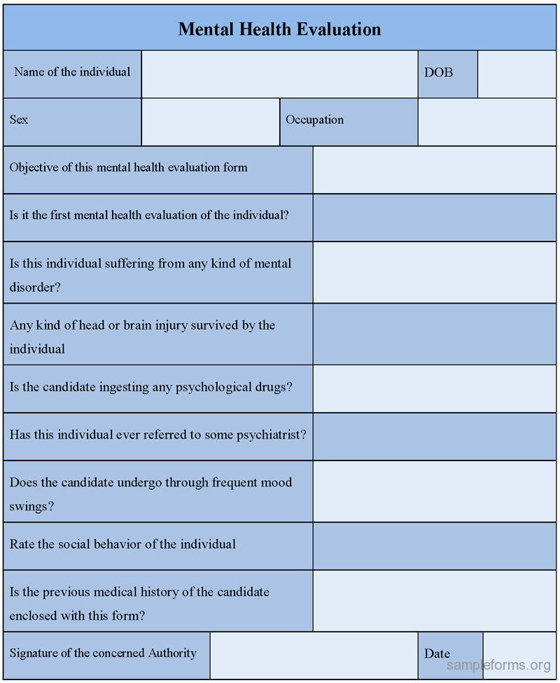 Psychiatric Evaluation form Template Lovely Mental Health Evaluation form Sample forms