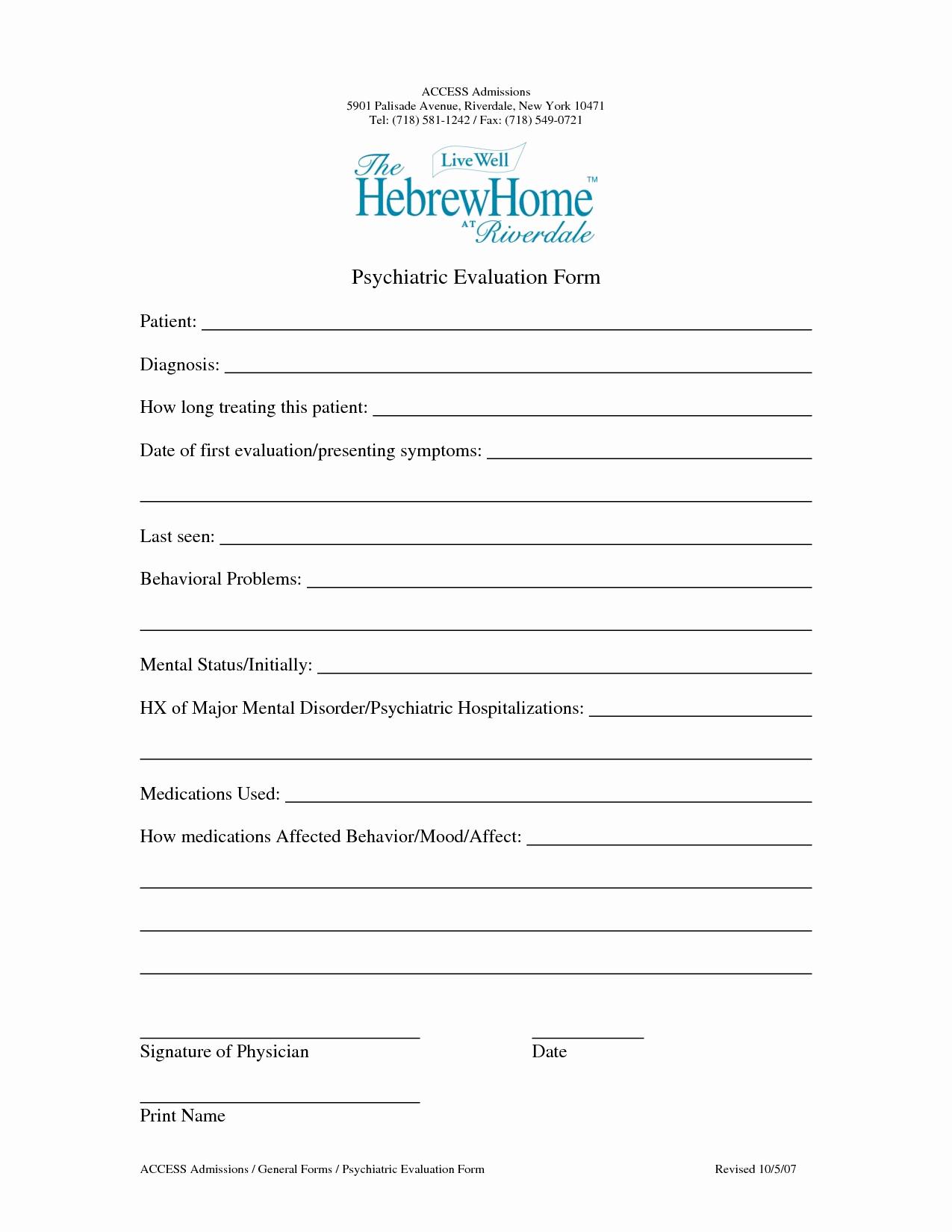 Psychiatric Evaluation form Template Lovely Psychiatric assessments Поиск по тегам Библиотека книг