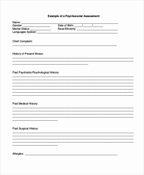 Psychiatric Evaluation form Template Lovely Sample Psychosocial assessment form 7 Documents In Pdf