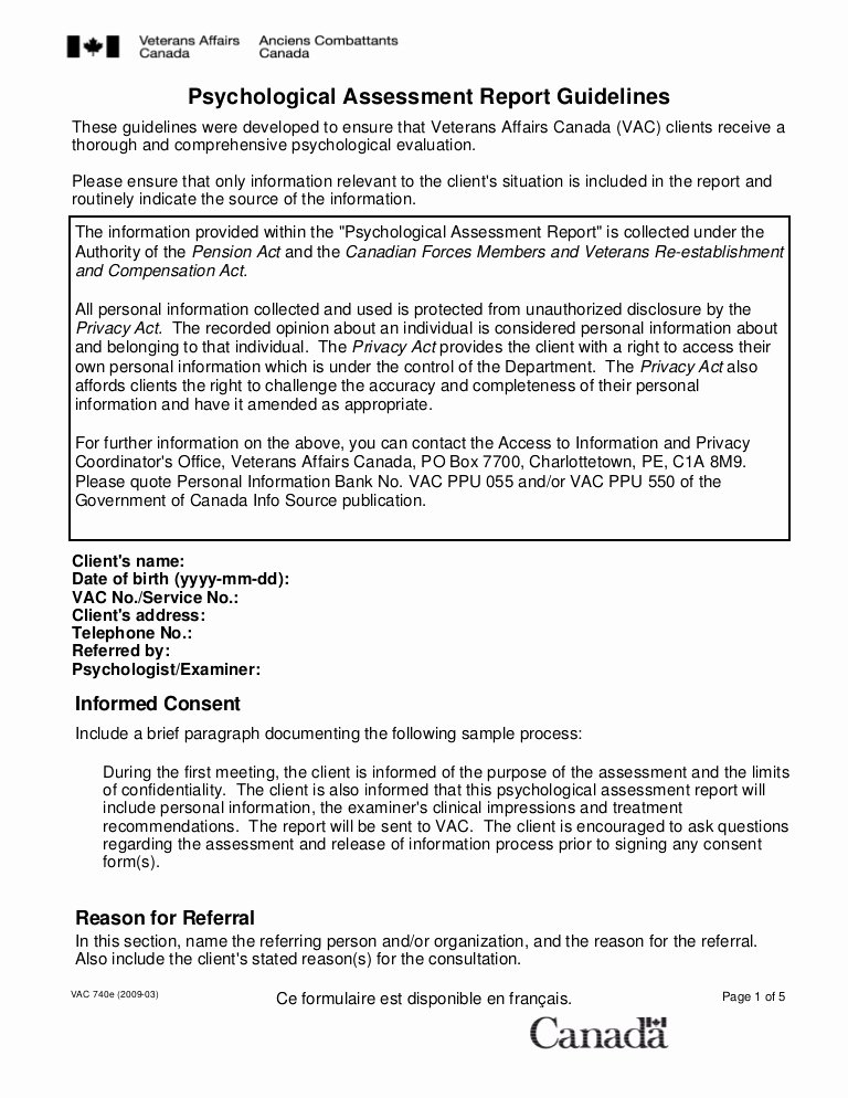 Psychiatric Evaluation form Template New Psychological assessment Report