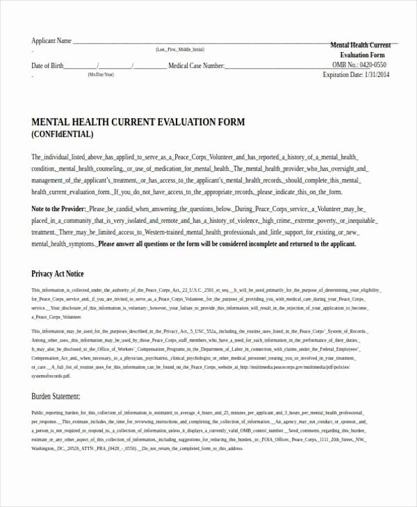 Psychiatric Evaluation form Template Unique Free 7 Health Evaluation form Samples In Pdf
