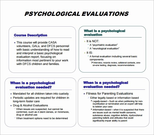 Psychiatric Evaluation form Template Unique Free 7 Sample Psychological Evaluation Templates In Pdf