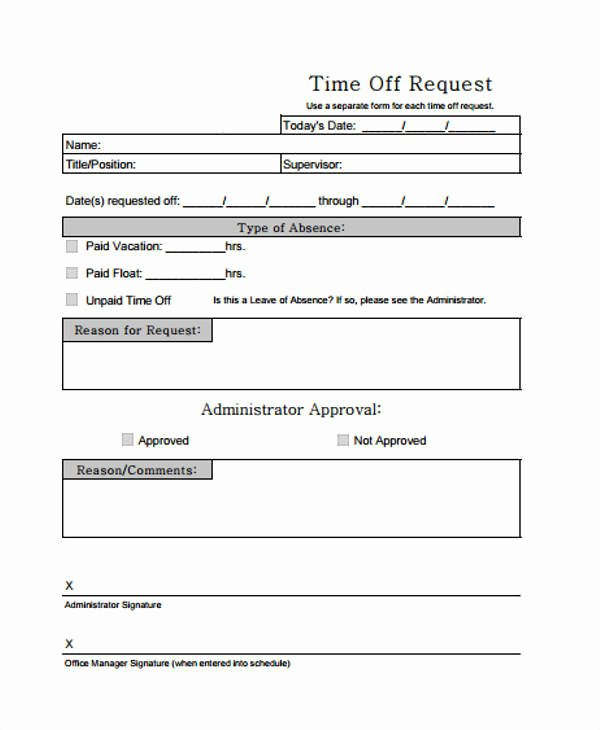 Pto Request form Template Lovely 24 Time F Request forms In Pdf