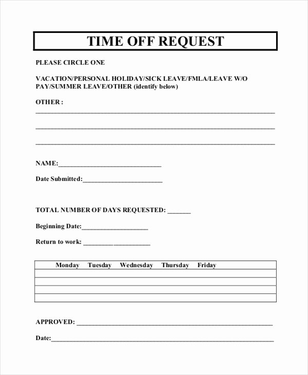 Pto Request form Template Luxury Free 12 Sample Time F Request forms In Pdf