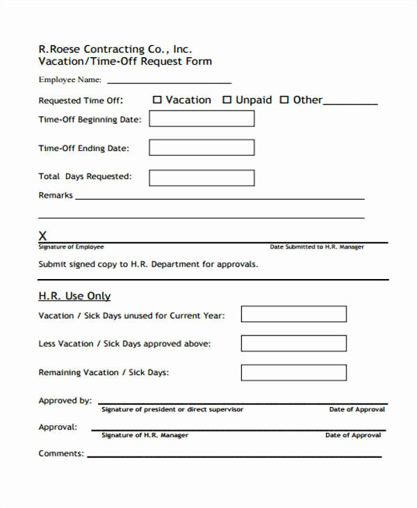 Pto Request form Template New 24 Time F Request forms In Pdf