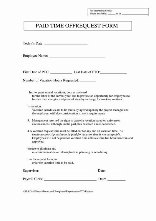 Pto Request form Template Unique Paid Time F Request form Printable Pdf