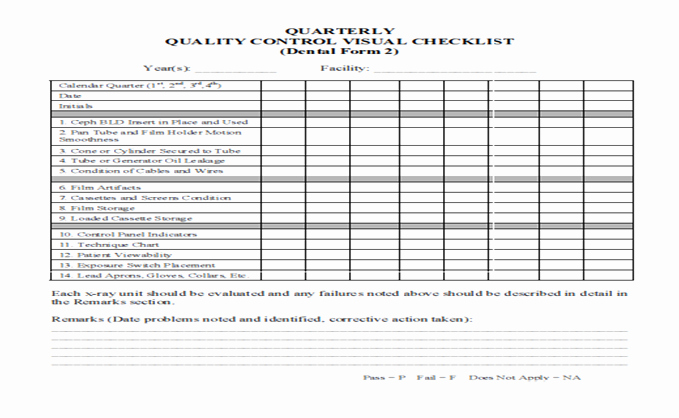 Quality Control form Template Unique Dental Radiography Qa and Qc