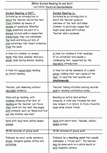 Readers Workshop Lesson Plan Template Awesome What Guided Reading is and isn T Lucy Calkins the Art