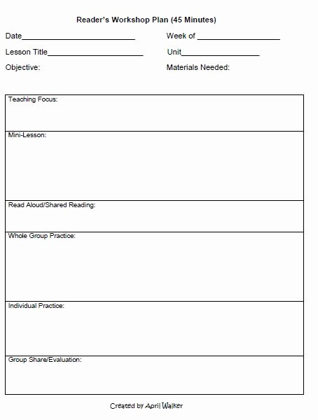 Readers Workshop Lesson Plan Template Fresh the Idea Backpack How to organize Time In Reading and