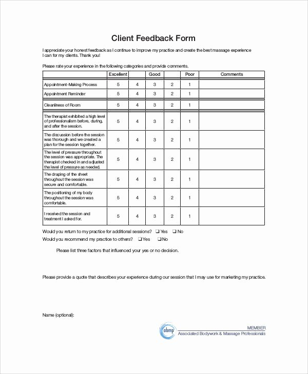 Real Estate Feedback form Template Awesome Sample Client Feedback form 9 Examples In Word Pdf
