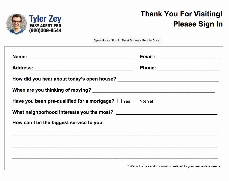 Real Estate Feedback form Template Best Of 5 Free and Simple Open House Sign In Sheet Templates for