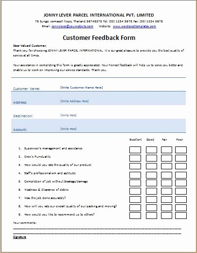 Real Estate Feedback form Template Lovely Ms Word Printable Customer Feedback form Template