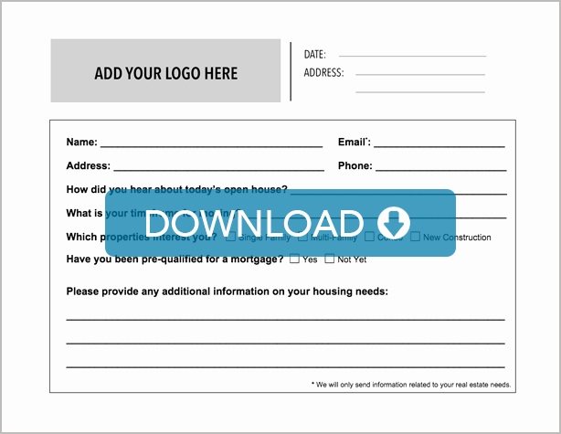Real Estate Feedback form Template New Real Estate Open House Sign In Sheet Free Template