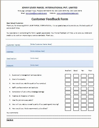 Real Estate Feedback form Template Unique Customer Feedback form Template