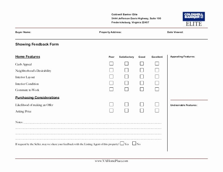 Real Estate Feedback form Template Unique Matthew Rathbun Showing Feedback form