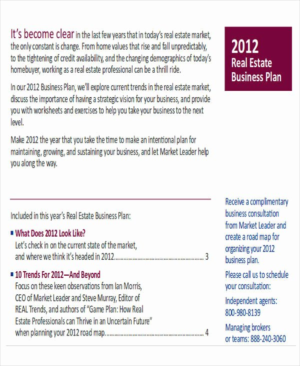 Realtor Business Plan Template Best Of 8 Business Plans Sample Free Sample Example format
