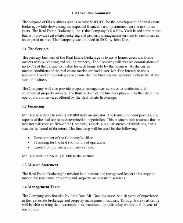 Realtor Business Plan Template Elegant Real Estate Business Plan 14 Free Pdf Word Documemts