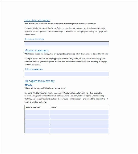 Realtor Business Plan Template Fresh Real Estate Business Plan Template 16 Free Word Excel