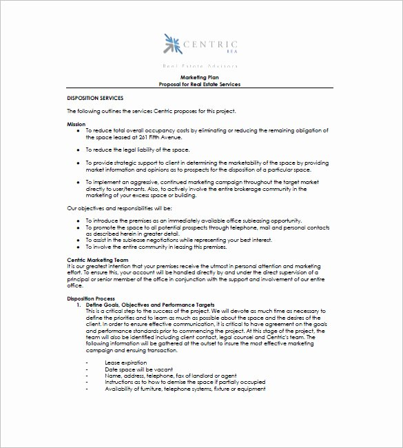 Realtor Business Plan Template Unique Real Estate Marketing Plan Template 9 Free Word Excel