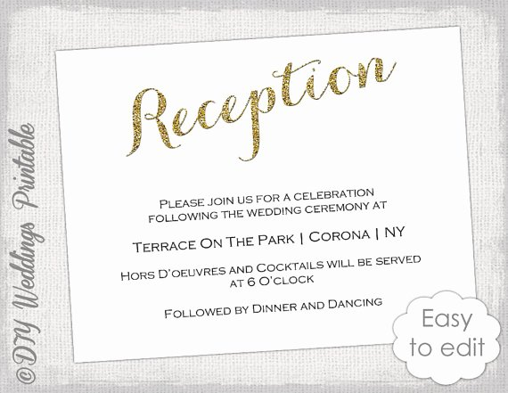 Reception Invitation Template Free Awesome Wedding Reception Invitation Template Diy Gold