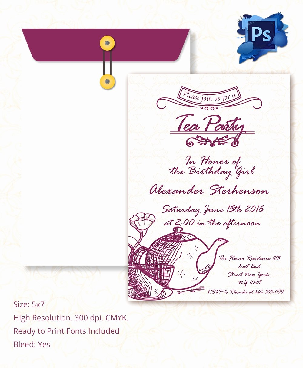 Reception Invitation Template Free Best Of 22 Tea Party Invitation Templates