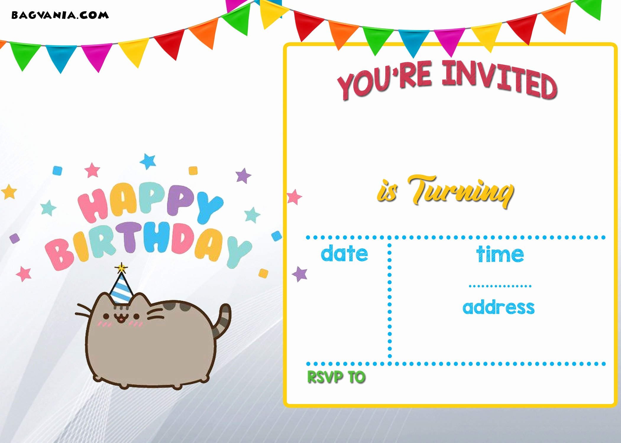Reception Invitation Template Free Best Of Free Printable Pusheen Birthday Invitation Template — Free