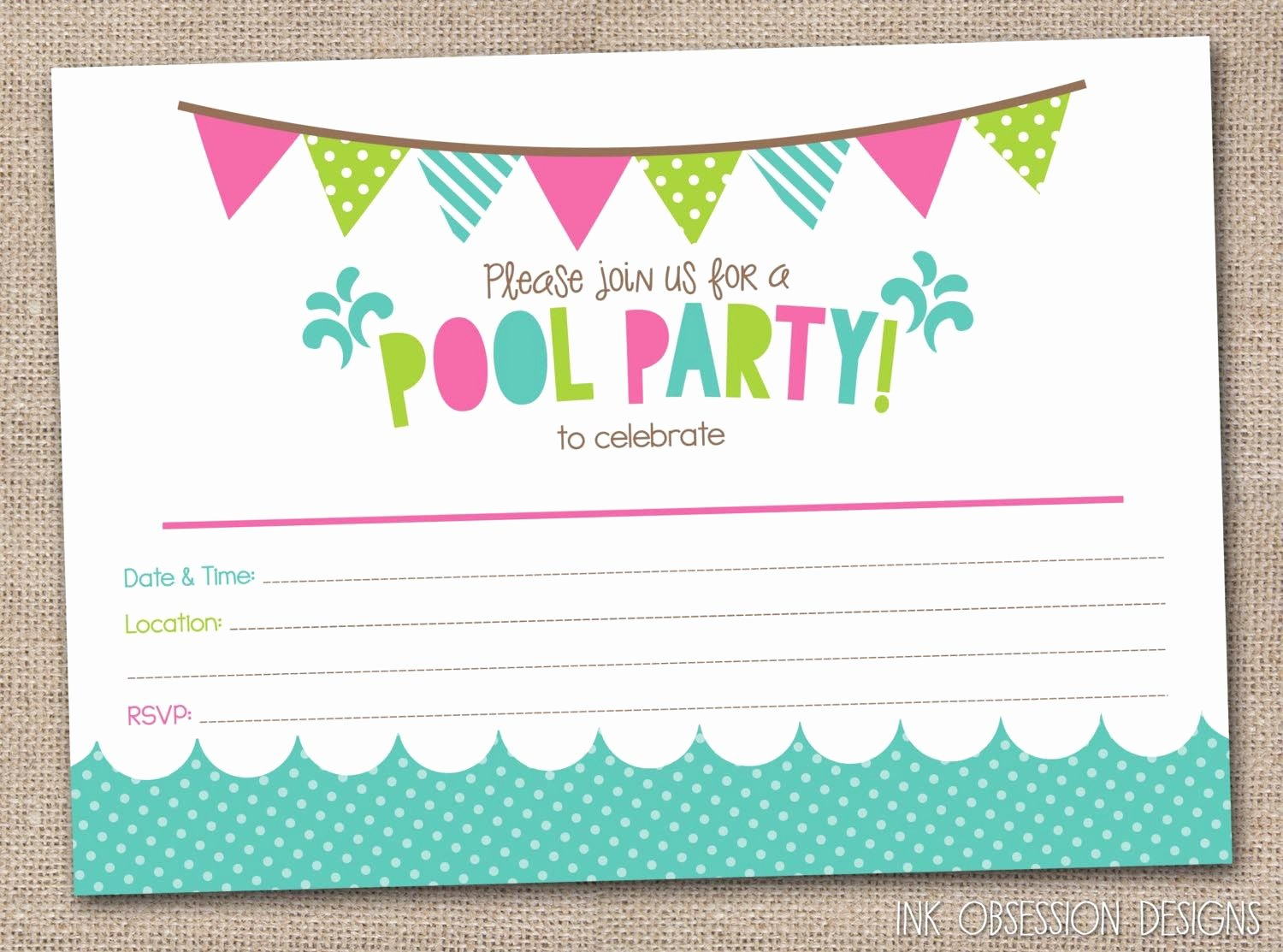Reception Invitation Template Free Fresh Free Printable Pool Party Birthday Invitations