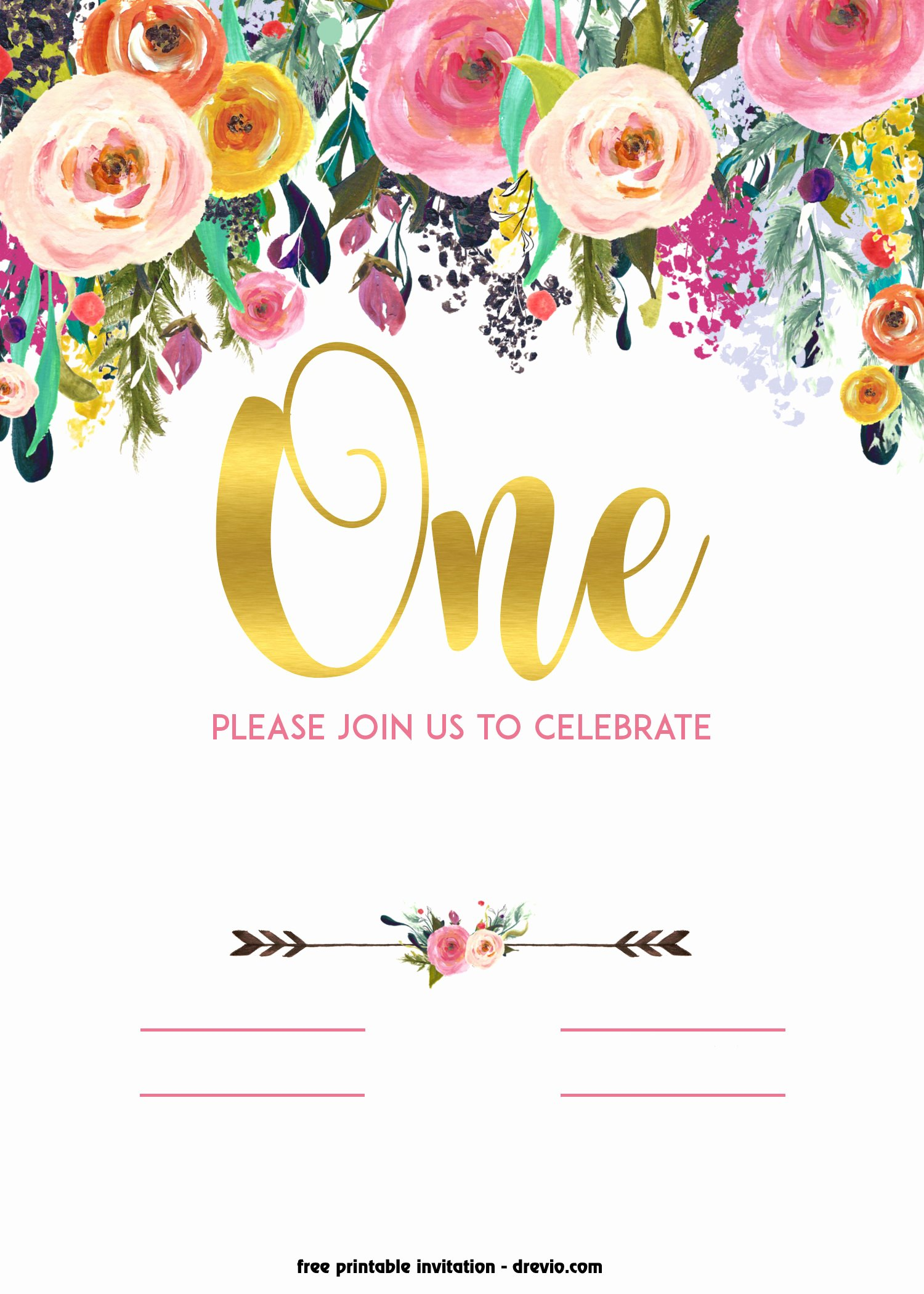 Reception Invitation Template Free Lovely Free Printable 1st Birthday Invitation – Vintage Style