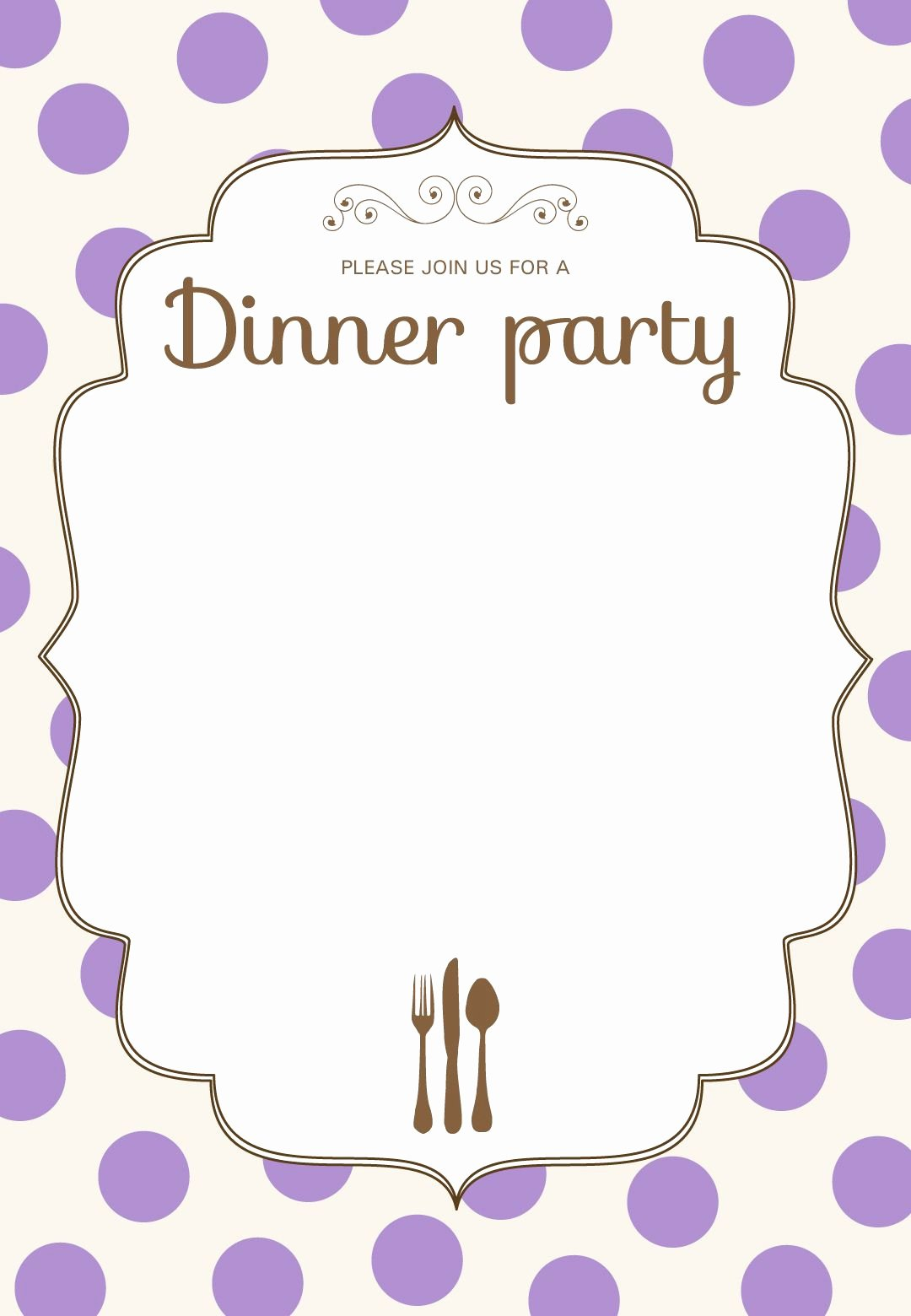 Reception Invitation Template Free Lovely Free Printable Classic Dinner Party Invitation