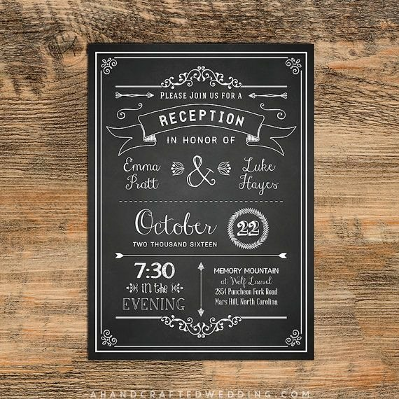 Reception Invitation Template Free Unique Chalkboard Diy Reception Ly Invitation Template