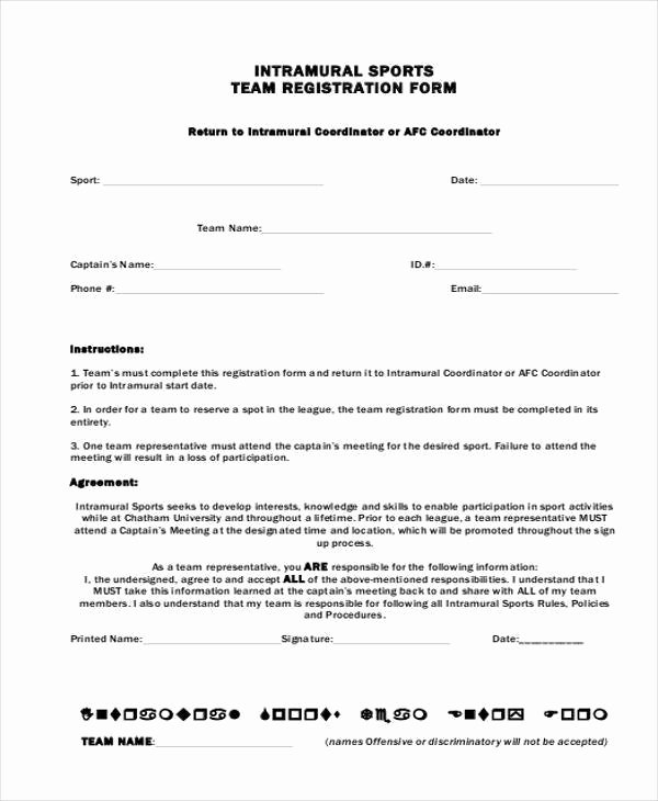 Registration form Template Free Download Unique Sports Registration forms Template Free Download