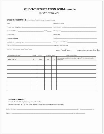 Registration form Template Microsoft Word Beautiful Student Registration forms for Ms Word