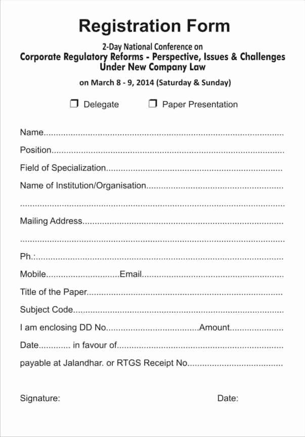 Registration form Template Microsoft Word Best Of Printable Registration form Templates Word Excel Samples