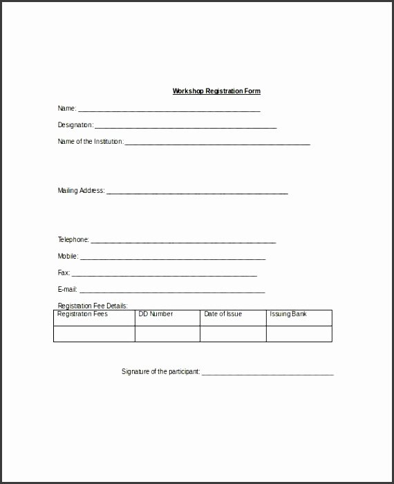 Registration form Template Microsoft Word Elegant 10 Registration form Template Word Sampletemplatess