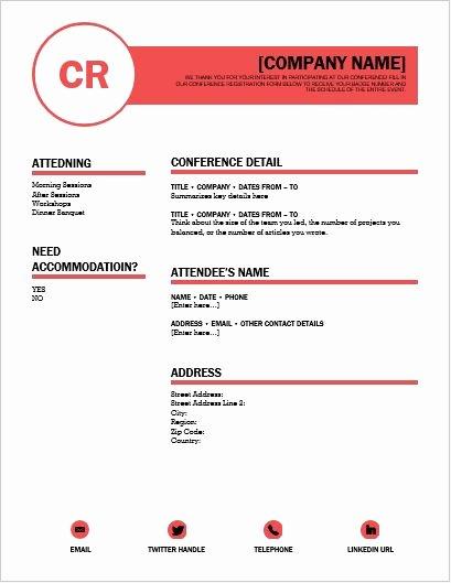 Registration form Template Microsoft Word Fresh Conference Registration form Template for Word