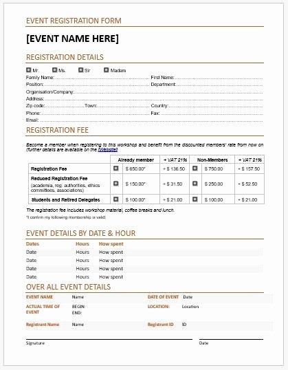Registration form Template Microsoft Word Inspirational event Registration forms & Template for Ms Word